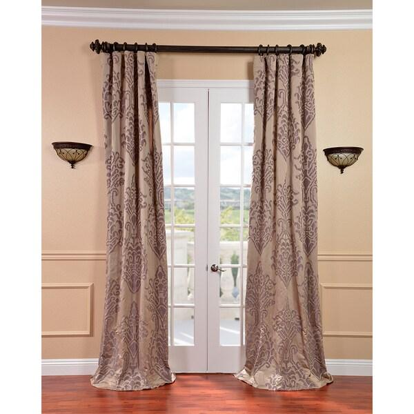 Minerva Taupe/ Plum Faux Silk Jacquard Curtains