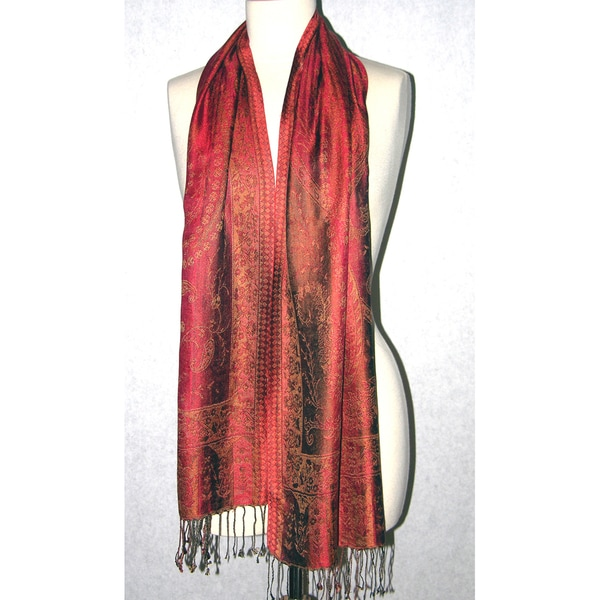 Hand-woven Silk Copper/ Chocolate Scarf (India)