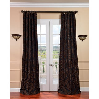 Astoria Black/ Cognac Faux Silk Jacquard Curtains