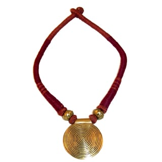 Handmade Burgundy Naga Pendant Necklace (India)