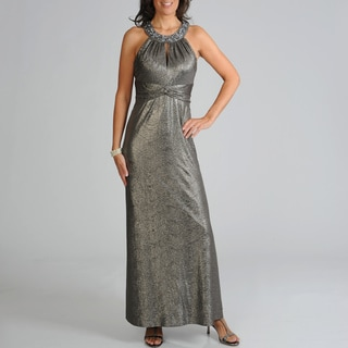 Ignite Evenings Women's Metallic Empire Waist Evening Gown