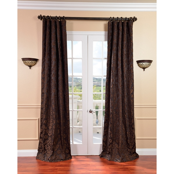 Medici Black/ Pewter Faux Silk Jacquard Curtains