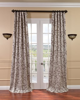 Calypso Silver/ Plum Faux Silk Jacquard Curtains