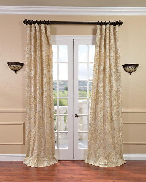 EFF Magdelena Champagne Faux Silk Jacquard Curtains