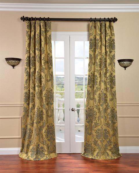 Exclusive Fabrics Magdelena Gold/ Blue Faux Silk Jacquard Curtains