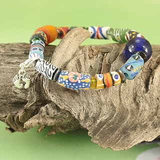 Handcrafted Recycled Glass Beads Silver Plated Charm Tribal Bracelet (Kenya)