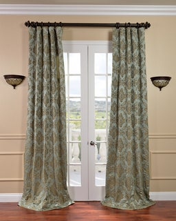 Amalfi Aqua/ Bronze Faux Silk Jacquard Curtains