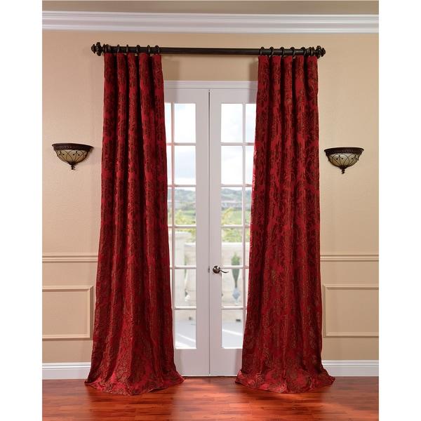 Exclusive Fabrics Astoria Red/ Bronze Faux Silk Jacquard Curtains 9796743