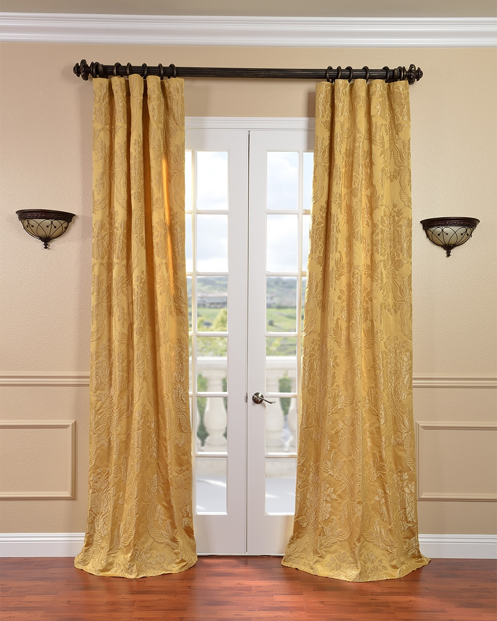 Magdelena Golden Faux Silk Jacquard Curtains