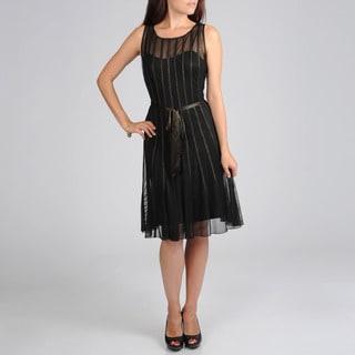 S.L. Fashions Women's Sheer Overlay Evening Dress