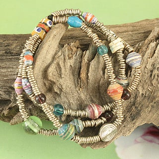 Handcrafted Recycled Glass Beads Triple Strand Tribal Bracelet (Kenya)
