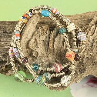 Handcrafted Recycled Glass Beads Triple Strand Tribal Bracelet (Kenya)