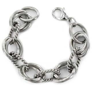 West Coast Jewelry Stainless Steel Interlocking Polished and Ridged Oval Bracelet