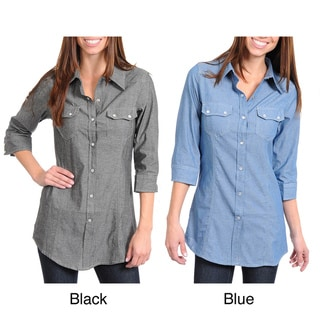 Stanzino Women's Three Quarter Sleeve Button Down Denim Shirt