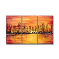 Jean Plout 'Deer at Sunset' 3-piece Triptych Wall Plaque Set
