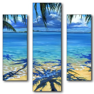 Pete Tillack 'Palm Tree Shadows' 3-piece Multisize Triptych Wall Art