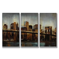 Lights on Bridge Triptych Art (17 x 30)