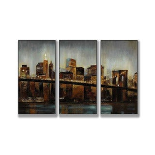 Lights on Bridge Triptych Art (17 x 30)