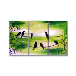 Birds On Wires Green Triptych Art (17 x 33)
