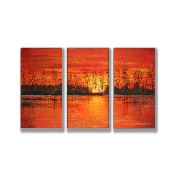 Autumn Sunset Triptych Art (17 x 33)