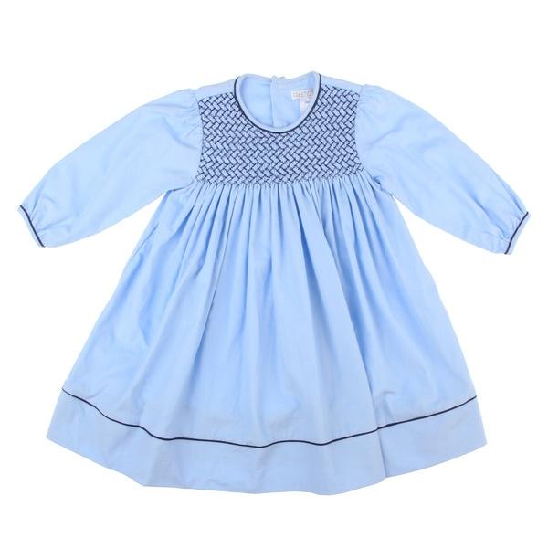 Petit Ami Toddler Girl's Blue Smocked Collar Dress FINAL SALE