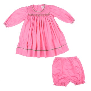 Petit Ami Newborn Girl's Pink Trim Detail Dress