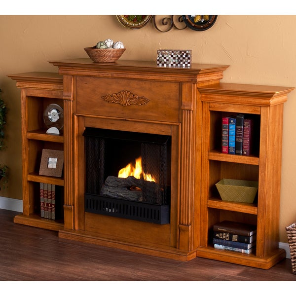 Upton Home Dublin Glazed Pine Gel Fuel Fireplace with Bookshelves