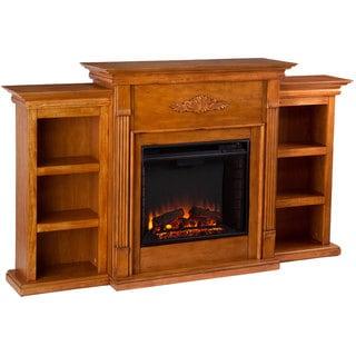 Dublin Glazed Pine Electric Fireplace with Bookshelves