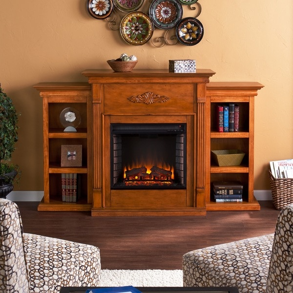 Dublin Glazed Pine Electric Fireplace with Bookshelves