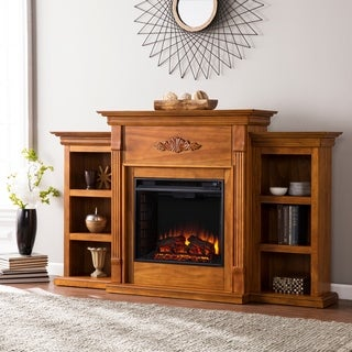 Upton Home Dublin 70-inch Glazed Pine Electric Fireplace with Bookshelves