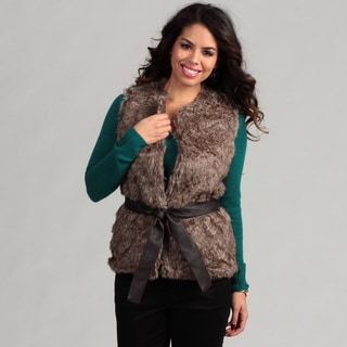 Live A Little Women's Fully-Lined Faux Fur Belted Vest
