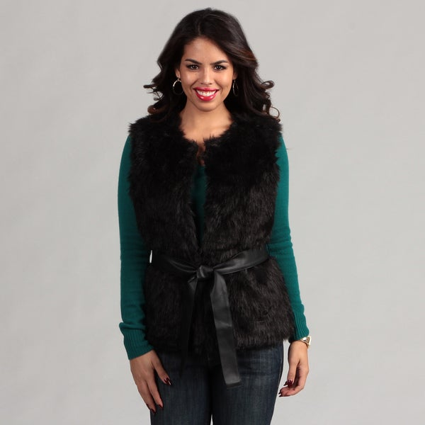 Live A Little Women's Faux Fur Belted Vest