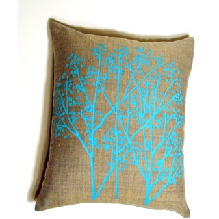 Hand-woven Cotton Dove Grey Cyan Trees Pillow Cover (India)