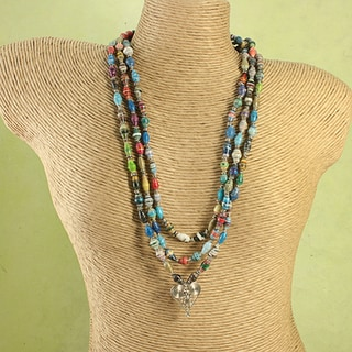Handcrafted Recycled Paper Beads Heart Tribal Necklace (Kenya)