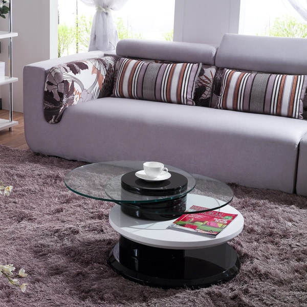 Julia High-Gloss Swivel Glass Tops Coffee Table