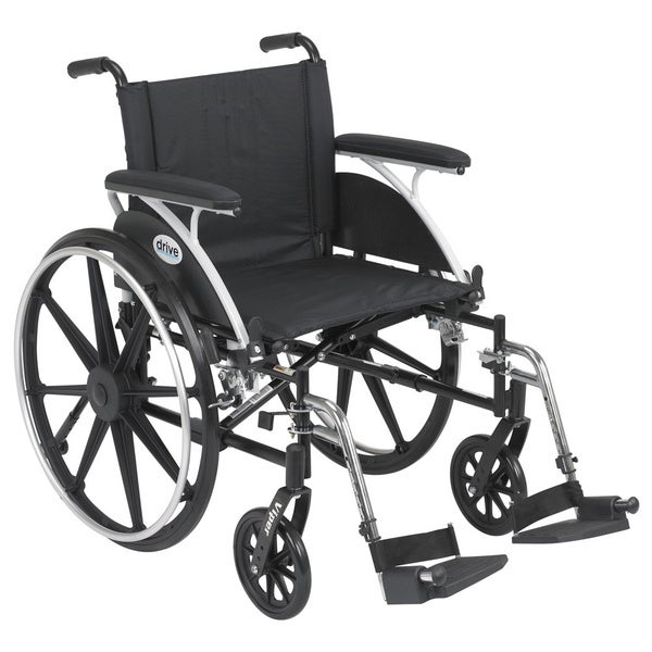 Drive Medical L420DFA-SF Viper Black Flip Back Desk Arm Wheelchair