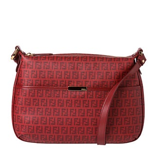 Fendi Red Zucchino Print Coated Canvas Shoulder Bag