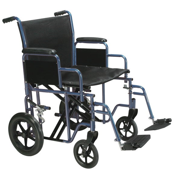 Drive Medical Blue Bariatric Heavy-duty Transport Wheelchair with Swing-away Footrest
