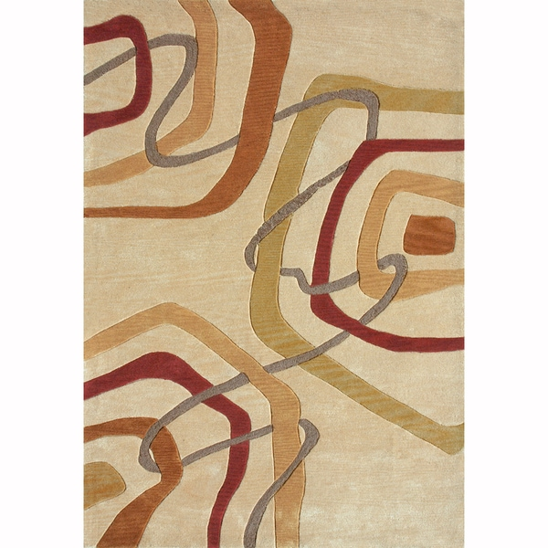 Hand Tufted Cassius Gold/ Multi Rug (7'10 x 7'11)