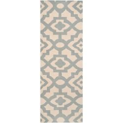 Hand-woven Fulshear Blue Wool Rug (2'6 x 8')