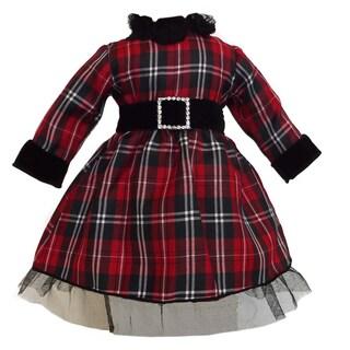 AnnLoren Christmas Red Plaid Doll Dress