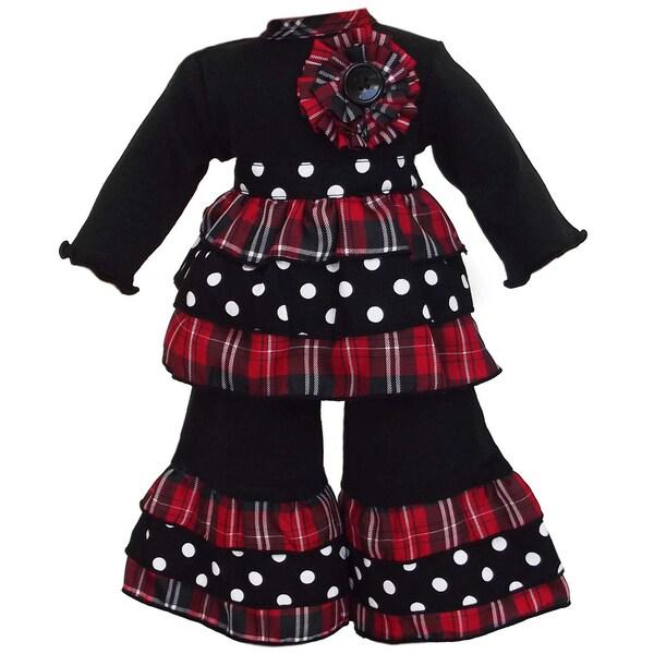 AnnLoren 2-piece Plaid/ Dot Doll Outfit