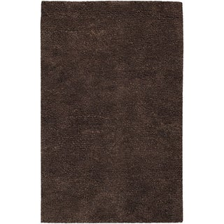 Hand-woven Metropolitan Brown Wool Plush Shag Rug (2' x 3')