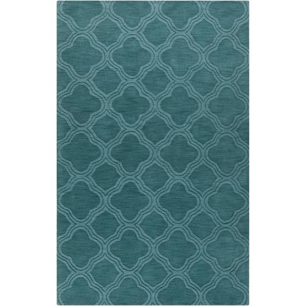 Hand-crafted Teal Green Lattice Grapeland Wool Rug (8' x 11')