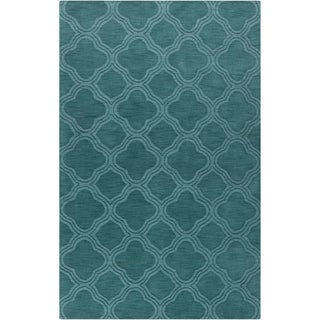 Hand-crafted Teal Green Lattice Wool Rug (2' x 3')