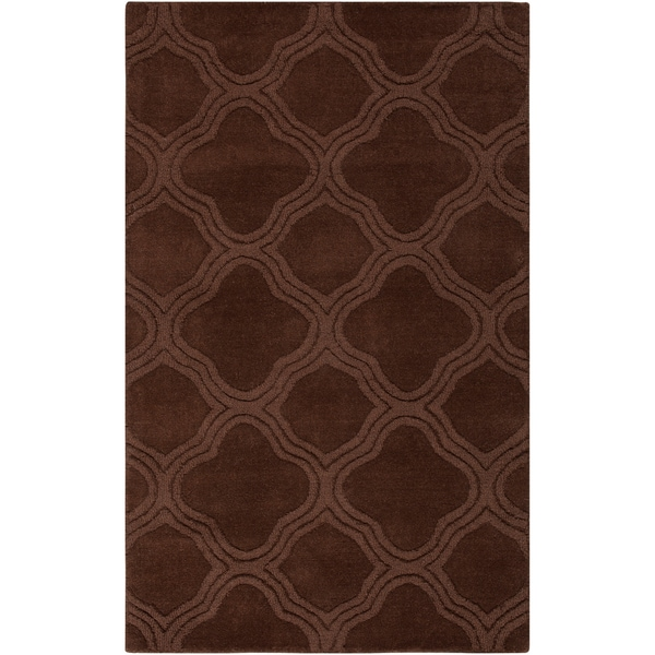 Hand-crafted Brown Lattice Brownough Wool Rug (5' x 8')