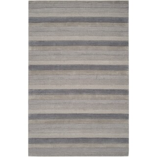 Hand-crafted Grey Stripe Casual Mystique Wool Rug (2' x 3')