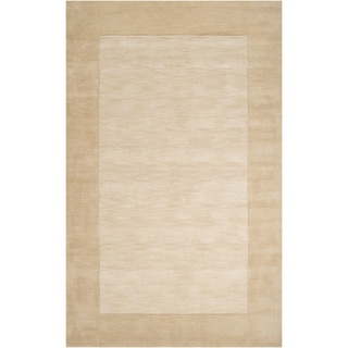 Hand-crafted Beige Tone-On-Tone Bordered Gruver Wool Rug (2' x 3')