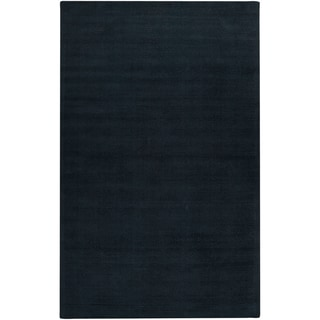 Hand-crafted Navy Blue Solid Causal Gunnison Wool Rug (2' x 3')