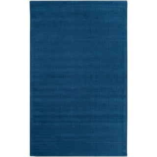 Hand-crafted Solid Blue Causal Hackburry Wool Rug (2' x 3')